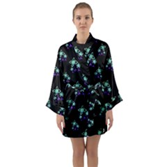Dark Floral Drawing Print Pattern Long Sleeve Kimono Robe by dflcprintsclothing