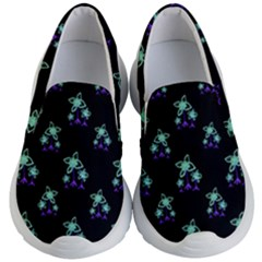 Dark Floral Drawing Print Pattern Kids  Lightweight Slip Ons by dflcprintsclothing