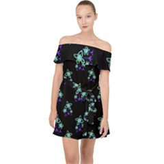 Dark Floral Drawing Print Pattern Off Shoulder Chiffon Dress