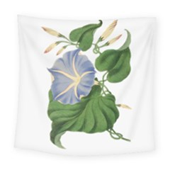 Blue Morning Glory  Vintage Square Tapestry (large) by WensdaiAddamns