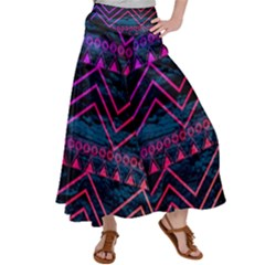 Fancy Tribal Pattern Satin Palazzo Pants by tarastyle