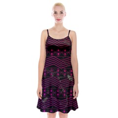 Fancy Tribal Pattern Spaghetti Strap Velvet Dress