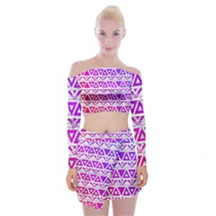 Fancy Tribal Pattern Off Shoulder Top With Mini Skirt Set