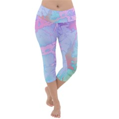 Iridescent Marble Lightweight Velour Capri Yoga Leggings by tarastyle