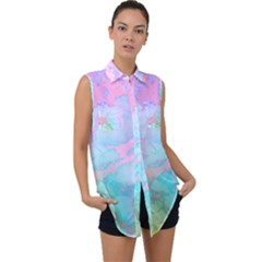 Iridescent Marble Sleeveless Chiffon Button Shirt by tarastyle