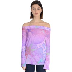 Iridescent Marble Off Shoulder Long Sleeve Top by tarastyle