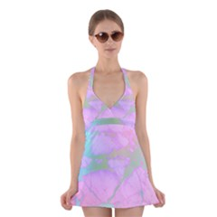 Iridescent Marble Halter Dress Swimsuit  by tarastyle