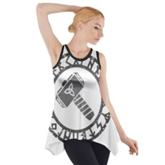 Thor Hammer With Runes Valhalla Tristella Viking Norse Mythology Mjolnir  Side Drop Tank Tunic by snek