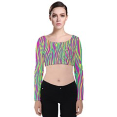 Funky Zebra Print Velvet Long Sleeve Crop Top by tarastyle