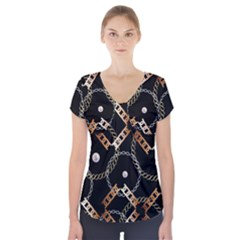 Luxury Chains And Belts Pattern Short Sleeve Front Detail Top by tarastyle