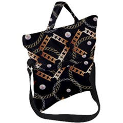 Luxury Chains And Belts Pattern Fold Over Handle Tote Bag by tarastyle