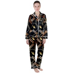 Luxury Chains And Belts Pattern Satin Long Sleeve Pyjamas Set by tarastyle