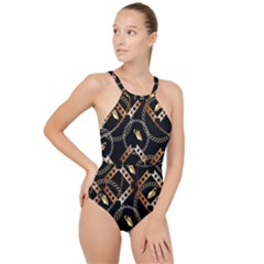Luxury Chains And Belts Pattern High Neck One Piece Swimsuit