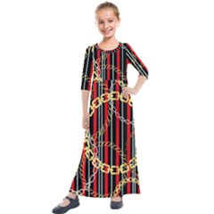 Luxury Chains And Belts Pattern Kids  Quarter Sleeve Maxi Dress by tarastyle