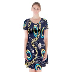Luxury Chains And Belts Pattern Short Sleeve V Neck Flare Dress by tarastyle