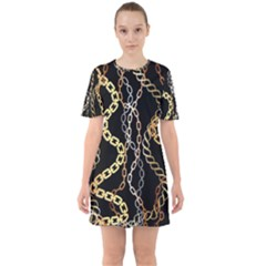 Luxury Chains And Belts Pattern Sixties Short Sleeve Mini Dress