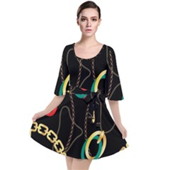 Luxury Chains And Belts Pattern Velour Kimono Dress by tarastyle