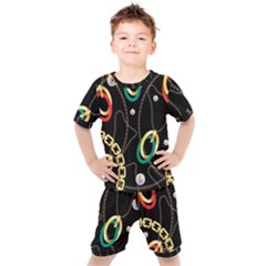 Luxury Chains And Belts Pattern Kids  Tee And Shorts Set by tarastyle