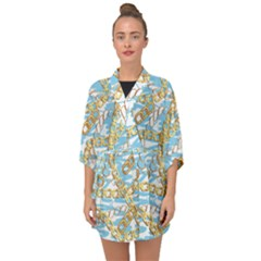 Luxury Chains And Belts Pattern Half Sleeve Chiffon Kimono by tarastyle
