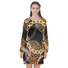 Luxury Chains And Belts Pattern Long Sleeve Chiffon Shift Dress