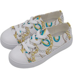 Luxury Chains And Belts Pattern Kids  Low Top Canvas Sneakers by tarastyle