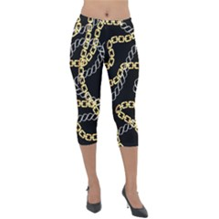 Luxury Chains And Belts Pattern Lightweight Velour Capri Leggings  by tarastyle
