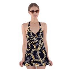 Luxury Chains And Belts Pattern Halter Dress Swimsuit  by tarastyle
