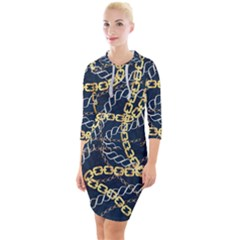 Luxury Chains And Belts Pattern Quarter Sleeve Hood Bodycon Dress by tarastyle