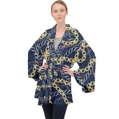 Luxury Chains And Belts Pattern Velvet Kimono Robe by tarastyle