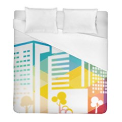 Silhouette Cityscape Building Icon Color City Duvet Cover (full/ Double Size)