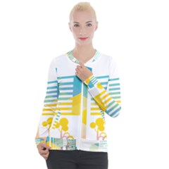 Silhouette Cityscape Building Icon Color City Casual Zip Up Jacket