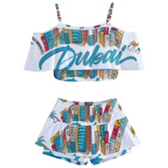 Burj Khalifa Skyline Clip Art Drawing Comic World Kids  Off Shoulder Skirt Bikini by Sudhe