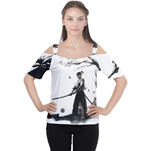 Japan Samurai Drawing   Warrior Cutout Shoulder Tee by Sudhe