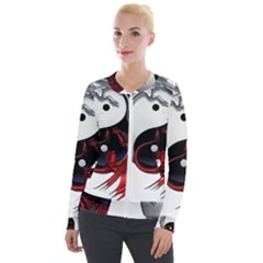 Yin And Yang Chinese Dragon Velour Zip Up Jacket by Sudhe