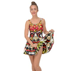 Bali Barong Mask Euclidean Vector Chiefs Face Inside Out Casual Dress