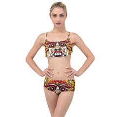 Bali Barong Mask Euclidean Vector Chiefs Face Layered Top Bikini Set
