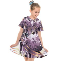 Nightclub Disco Ball Dj Dance Speaker Kids  Short Sleeve Shirt Dress
