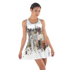 Hong Kong Skyline Watercolor Painting Poster Cotton Racerback Dress by Sudhe