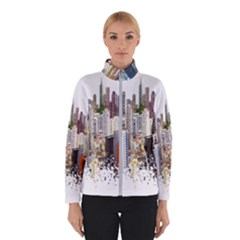 Hong Kong Skyline Watercolor Painting Poster Winter Jacket by Sudhe