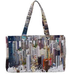 Hong Kong Skyline Watercolor Painting Poster Canvas Work Bag