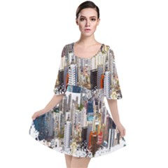 Hong Kong Skyline Watercolor Painting Poster Velour Kimono Dress