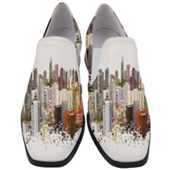 Hong Kong Skyline Watercolor Painting Poster Slip On Heel Loafers