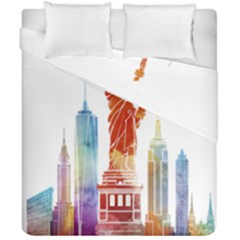 New York City Poster Watercolor Painting Illustrat Duvet Cover Double Side (california King Size) by Sudhe