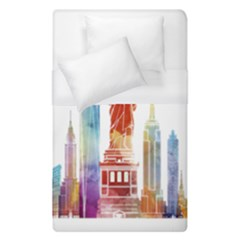 New York City Poster Watercolor Painting Illustrat Duvet Cover (single Size) by Sudhe