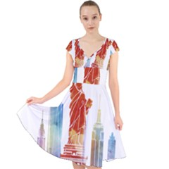 New York City Poster Watercolor Painting Illustrat Cap Sleeve Front Wrap Midi Dress