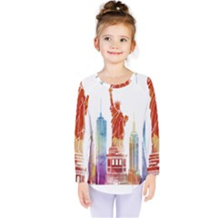 New York City Poster Watercolor Painting Illustrat Kids  Long Sleeve Tee