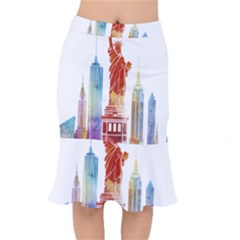 New York City Poster Watercolor Painting Illustrat Mermaid Skirt