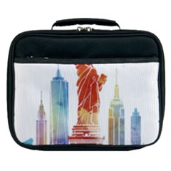 New York City Poster Watercolor Painting Illustrat Lunch Bag