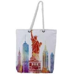 New York City Poster Watercolor Painting Illustrat Full Print Rope Handle Tote (large)