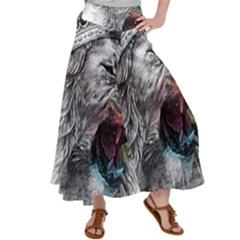Lion King Head Satin Palazzo Pants by Sudhe